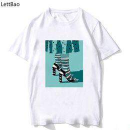 $enCountryForm.capitalKeyWord NZ - beautiful High heels print summer tops 100% cotton t shirt women graphic tees short sleeve fashion Casual tumblr T-shirt femme