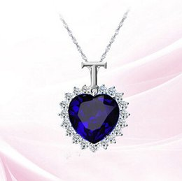 pendant titanic NZ - Titanic Heart of the Ocean Sapphire Crystal Chain Necklace Pendant Plate Jewelry