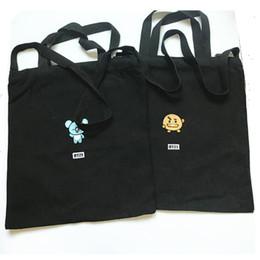 Cute Canvas Handbags Australia - For BTS BT21 Embroidered Shopping Bag Canvas Eco Bag Handbag Shoulder Bags Kawaii TATA RJ Birthday Gift Cute Fashion Boy Girl