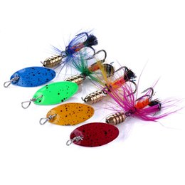 Bait Spinners UK - HENGJIA 1pc Hot Sale Artificial Metal Spinner Fishing Bait 5cm 2.2g with Feather Treble hook 8#hook Free shipping