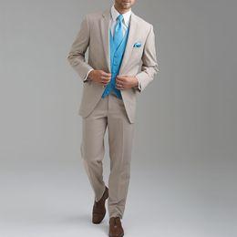 Suit Beige Australia - 2019 Custom Made Beige Groomsmen Best Man Suit Blazer+Pants+Vest Wedding Suit Tuxedos Prom Suit for Party