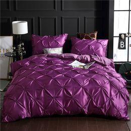 White Soft Bedding Set NZ - Purple Luxury Washed Silk Duvet Cover Set 3Pcs Set 100% Super Soft Pinch Pleat Brief Bedding Sets Queen King Size