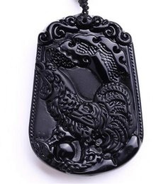 $enCountryForm.capitalKeyWord Australia - Natural Black carved Chinese Zodiac chicken obsidian amulet necklace pendants for women and men