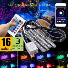 $enCountryForm.capitalKeyWord Australia - Car RGB Neon Strip Styling Decoration Lamp Wireless Remote Voice APP Control Interior Floor Foot Cigarette LED Atmosphere Lights