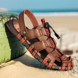 Beach Shoes 47 Australia - Gladiator Outside Beach Sandals Wedding Shoes Summer Mens Leather Sandals Anti Slippery Gladiator Sandals For Men Size 38-47