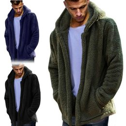 $enCountryForm.capitalKeyWord Canada - European American Hooded Jacket Fashion Large Size Plush Cardigan Coat Casual Solid Color Warm Fluffy M-3xl Dark Blue Black