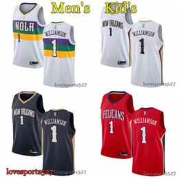 Kids jersey baseball online shopping - 2019 Men youth kids New Orleanss Pelicanss Zion Williamson red white color Swingman stitched Basketball Jerseys
