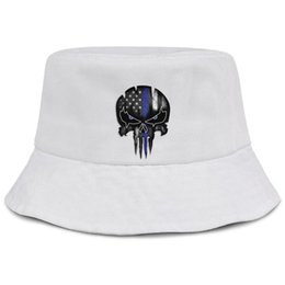 Skull Cap Ball Australia - Womens Mens Washed Flat-along Adjustable Thin Blue Line Punisher Skull Hip Hop Cotton Ball Cap Summer Hats Cadet Army Caps Bucket Hat Airy M