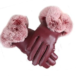 Casual Leather Gloves Australia - Fur Faux Outdoor Pom Street Hand Temperature Maximum Dry Gloves Hang Casual 40C Pom Casual Women Winter Wash Touchscreen