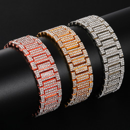 chain link watch band Australia - Hip Hop Full Rhinestones Iced Out Bling Gold Silver Watch Band Link Chain Bracelets Bangles for Men Rapper Jewelry K5612