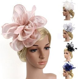 Hats For Wedding Black Australia - Elegant Hats For Women Fashion Wedding Women Fascinator Penny Ribbons And Feathers Party Mesh Hat Fedoras Hombre 30AG31