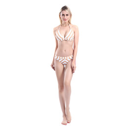 084f662f3d 2019 Women's Stripe Printing Bikini Set Swimwear Beach Bathing Suit With  Padding Bra Swimsuit DHL Free