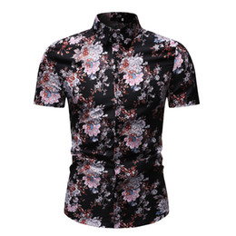 floral slim fit men shirt UK - Shirt For Man Short Sleeve Button Down Shirts Slim Fit Shirt Floral Hawaiian Shirt Casual Clothes 2019 New Fashion