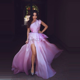 prom dress chiffon slit crystal Australia - One Shoulder Lilac Prom Dresses Long Thigh High Slits Draped Chiffon Long Formal Evening Party Gowns Special Occasion Dress Plus Size 2020