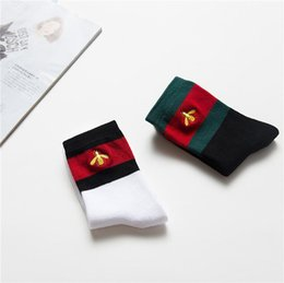 mens cotton tube socks NZ - FASHION mens designer socks embroidery Tiger head stripes sports couple black socks cotton stripes knitted tube socks dolce