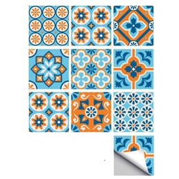 $enCountryForm.capitalKeyWord Australia - Blue & Orange Flower Pattern Tile Wall Sticker Bathroom Toilet Waterproof DIY Wall Sticker Living Room Kitchen Decor Mural Stickers