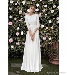 Discount mad dresses - 2019 New Simple A-line Crepe Modest Wedding Dresses With 3 4 Sleeves Low Back Floor Length New Arrival Boho Informal Wed