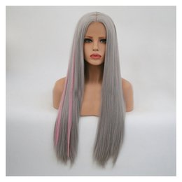 $enCountryForm.capitalKeyWord Australia - Wig Grandma Ash Highlights Pink Colour In Long Straight Hair Ma'am Front Lace Chemical Fibre Hair Set