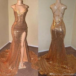reflective straps Canada - African Gold Sequins Mermaid Prom Dresses 2020 Sexy Criss Cross Backless Spaghetti Straps Front Split Long Evening Reflective Dress BC0906