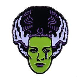 $enCountryForm.capitalKeyWord Australia - Bride of Frankenstein badge Queen of classic horror pin perfect Halloween addition
