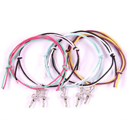 women dance sports UK - Dance Girl Bracelet Tibetan Silver Ballet Bangle Adjustable Colorful Double Wax Cord Weaving Bracelet Fashion Charm Bangle Woman Jewelry