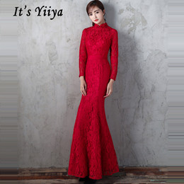 $enCountryForm.capitalKeyWord NZ - Robe De Soiree 2019 Formal Red Standing Collar Long Evening Dress Full Sleeve Floral Sexy Lace Women Party Dress Plus Size E460