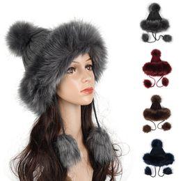 97a42ec8261 Kagenmo Imitation Fox Pom Hat Faux Leather Straw Hat Female Winter Thick  Warm Knitted Furry Ball