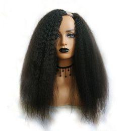 China Kinky Straight U Part Wig For Black Woman Human Hair Wigs Brazilian Remy Hair 150 Density Italian Yaki Medium supplier human hair u part wig kinky suppliers