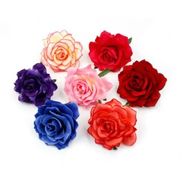 ArtificiAl roses wreAths online shopping - 10cm Big Silk Blooming Roses Artificial Flower Head for Wedding Decoration DIY Wreath Gift Scrapbooking Craft Flower
