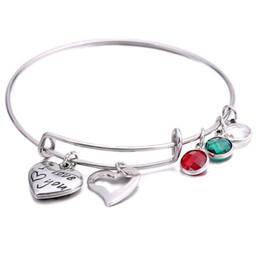 $enCountryForm.capitalKeyWord Australia - Stainless Steel Bracelet Adjustable Expandable Wire Bracelets Bangles With Birthstone Heart Charm Graduation Gift Custom for Women Jewelry