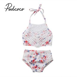 Baby Girl Summer Suits Australia - 2019 Brand Summer Newborn Baby Girl Bikini Suit Floral Bandage Lace Swimsuit Swimwear 2PCS Outfits Set Clothes