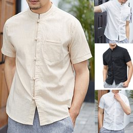 $enCountryForm.capitalKeyWord NZ - Linen Shirts Men Harajuku Casual Blouse Men's Summer New Style Personality Cotton-linen Pure Short sleeved Sport Shirts Hawaiian