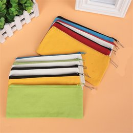 Cases rolling penCils online shopping - Student Canvas Pencil Case Zipper Pure Color Pen Box Oxford Cloth Stationery Pouches Portable Easy To Clean lgb1