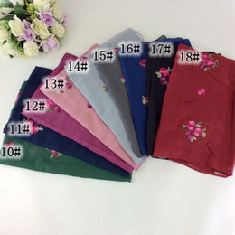 Wholesale Cotton Head Scarves Australia - 20pcs Embroidery Small Floral Cotton Shawl Tassels Shawl Scarves And Stoles Muslim Head Scarf Hijab Women Scarf Bandana