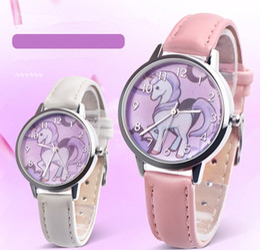 Wholesale rainboW Watch online shopping - New fashion Unicorn Watch Children watch Carton Rainbow Kids Girls Leather Band Analog Alloy Quartz Watches