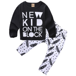 Floral Print Shirts Baby UK - New Arrival Fahison Letter Printing Baby Sets Newborn Baby Boys Girls Kids Casual Long Sleeve T-shirt Tops+Long Floral Pants