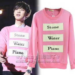 Boy star logo online shopping - 2016New arrival spring and autumn style Exo star team pink color sweatshirt for girls and boys exo logo