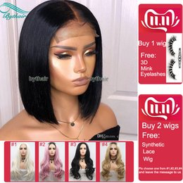 Black indian wig online shopping - Bythair Short Bob Silky Straight Peruvian Human Hair Full Lace Wigs Baby Hairs Pre Plucked Natural Hairline Lace Front Wig Bleached Knots