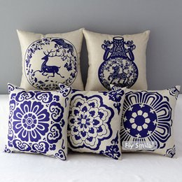 Pillows Blue Chinese Print Australia - Chinese Traditional Blue And White Porcelain Floral Cushion Covers Flower Horse Deer Butterfly Cushion Cover Linen Cotton Pillow Case
