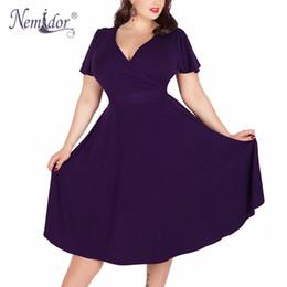 8d07c73ec18 Nemidor Women Sexy V-neck Short Sleeve 50s Party A-line Dress Vintage  Stretchy Midi Plus Size 7XL 8XL 9XL Cocktail Swing Dress Y190117