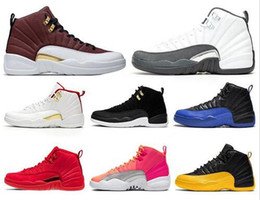 designers suede shoes 2021 - Designer shoes jumpman 12 12s OVO White Gym Red Dark Grey basketball shoes Men Taxi Blue Suede Flu Game CNY sneakers siz