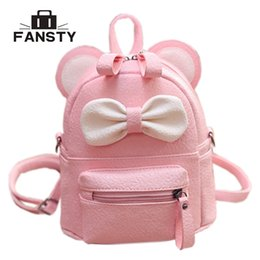 $enCountryForm.capitalKeyWord NZ - teenager bag Mini Women Backpack Lady Cute Pu Leather School Backpack Fresh Bow Animal Pink Mouse Small Children Teenager Bag for Girls