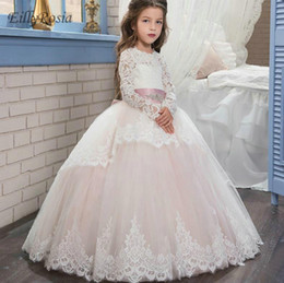 $enCountryForm.capitalKeyWord NZ - Long Sleeve Flower Girl Dresses Long for Party Lace Appliques Lovely Ball Gown Prom Dress for Girls vestido primera comunion 2018