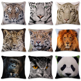 cute animal pillowcase Canada - Cute Animal Pillow Cover Panda Tiger Lion Elephant Printed Pillowcase Linen Pillow Case Car Cushion Cover Home Decoration 45*45cm