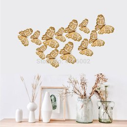 $enCountryForm.capitalKeyWord Australia - 100Sets 12 Pcs Set 3D Wall Stickers Butterfly Hollow Paper 3Sizes Silver Gold For Fridge Home Party Wedding Decor