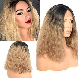 $enCountryForm.capitalKeyWord Australia - Ombre Short Bob Fluffy Curly Wavy Lace Front Wigs Dark Roots 2 Tones Color Dark Ash Blonde Synthetic Heat Resistant Hair Middle Part