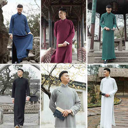 $enCountryForm.capitalKeyWord NZ - High Quality Cotton Linen Chinese Performance Crosstalk Long Robe Ancient style Talk Show Gown Long Clothing For Oversea Chinese