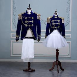 princes dresses 2019 - Mens Unisex Gold Suit Blazer Coat+Pants Skirt Formal Lapel Collar court navy dress costumes Prince stage retro European