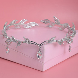 frontlet rhinestone tiara UK - Crystal Crown Bridal Hair Accessory Wedding Rhinestone Waterdrop Leaf Tiara Crown Headband Frontlet Bridesmaid Hair Jewelry T190620
