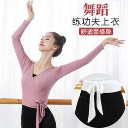 Discount black white stripes short dress Dancing Dress Exercise Clothing Adult Female V-neck Long-Sleeved Dance Shirt Cotton Slim Fit Clothing Short Sleeve